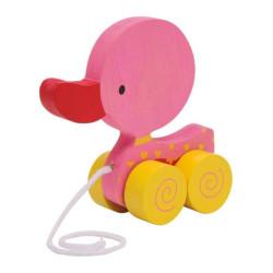 Small Foot Tahací hračka na provázku růžové kačátko