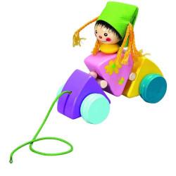 HJ Toys Tahací hračka vozík holčička