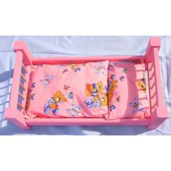 Dřevěná postel pro panenky růžová velká