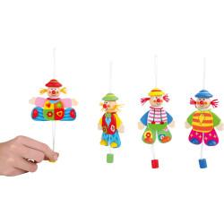 Small Foot Dřevěná dekorace hýbající se klaun na zavěšení 1 ks