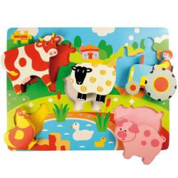 Bigjigs Toys Dřevěné vkládací puzzle Farma