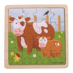 Bigjigs Toys puzzle - Kravička s telátkem