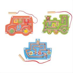 Bigjigs Toys dřevěný magnetický labyrint 1ks červená
