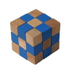 Dřevěný hlavolam kostka modrá