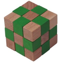 Dřevěný hlavolam kostka zelená velké