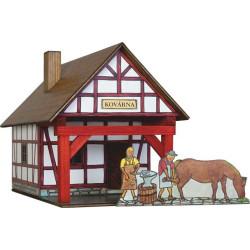 Walachia Dřevěná slepovací stavebnice Hrázděná kovárna