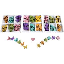 Small Foot 3 Sady barevných dekorací srdíčka, motýlci, květinky