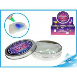 Chytrá hmota v plechovce měnící barvu pod UV světlem s UV klíčenkou 1 ks