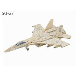 RoboTime Dřevěná skládačka ruská stíhačka SU-27