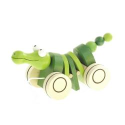 Dřevěná tahací hračka - Krokodýl klapací