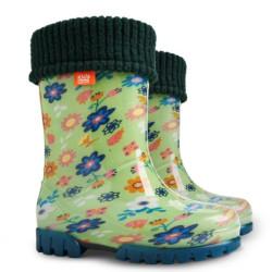 Demar Twister lux PRINT U (zelené květiny) - Dětské gumáky