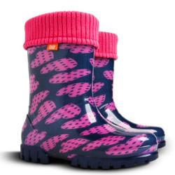 Demar Twister lux PRINT V (fialová srdce) - Dětské gumáky