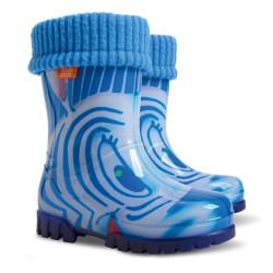 Demar Twister lux PRINT HH (modrá zebra) - Dětské gumáky