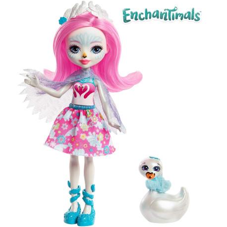 Mattel Enchantimals Panenka se zvířátkem Saffi Swan & Poise