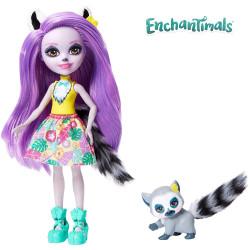 Mattel Enchantimals Panenka se zvířátkem Larissa Lemur & Ringlet