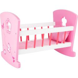 Legler Dřevěná kolébka pro panenky růžová
