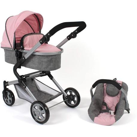 Bayer Chic Kočárek pro panenky s autosedačkou LIA růžová světle šedá