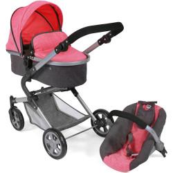 Bayer Chic Kočárek pro panenky s autosedačkou LIA růžová tmavě šedá