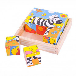 Bigjigs Toys Obrázkové kostky kubusy Safari 9 kostek