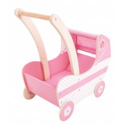 Bigjigs Toys Dřevěný kočárek pro panenky