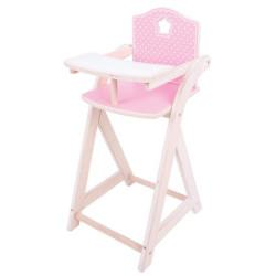 Bigjigs Toys Dřevěná krmící židlička pro panenky