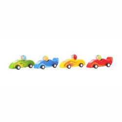 Bigjigs Toys Barevné dřevěné závodní auto 1ks