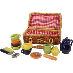 Small Foot Piknikový koš s barevným keramickým nádobím