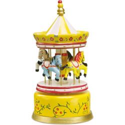 Small Foot Dřevěná hrací skříňka kolotoč žlutý