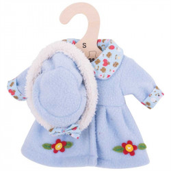 Bigjigs Toys Modrý kabátek s kloboučkem pro panenku 28 cm