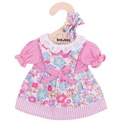 Bigjigs Toys Růžové květinové šaty pro panenku 28 cm