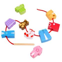 Bigjigs Toys Navlékání korálků oblečení