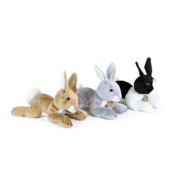 Rappa Plyšový králík ležící 18 cm 1 ks černo - bílý