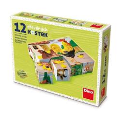 Dino Domácí zvířata 12 dřevěné kostky