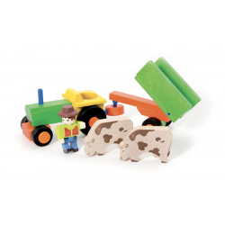 Jeujura Dřevěný traktor s přívěsem