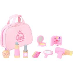 Small Foot Dětská kosmetická taštička růžová s dřevěnými doplňky