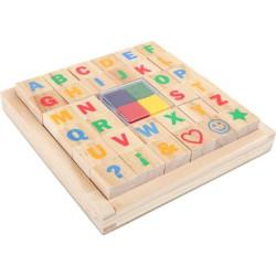 Small Foot Dřevěné výtvarné hračky set razítek abeceda