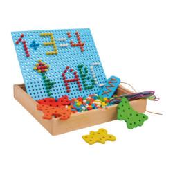 Small Foot Dřevěné kreativní hračky nasouvací a navlékací puzzle