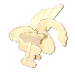 Woodcraft Dřevěné 3D puzzle mini skládačka labuť