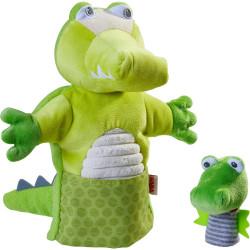 Haba Maňásek / loutka na ruku krokodýl s mláďátkem