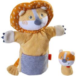 Haba Maňásek / loutka na ruku lev s mláďátkem