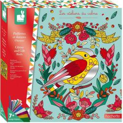 Kreativní sada Ptáčci barevné písky s třpytkami a metalické papíry Janod Atelier Maxi