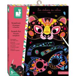 Kreativní sada vyškrabovací obrázky Zvířata Masky a Brýle Janod Atelier Mini