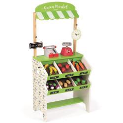 Janod Dřevěný obchod pro děti s pokladnou váhovou ovocem a zeleninou