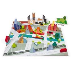 Dřevěné kostky Kubix Město Janod 60 ks stavebnice s puzzle podložkou od 3 let