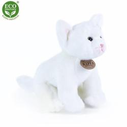 Rappa Plyšová kočka bílá sedící 24 cm ECO-FRIENDLY