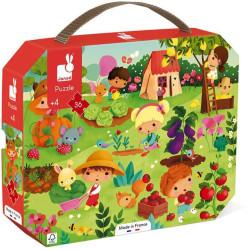 Puzzle pro děti Zahrada Janod v kufříku 36 ks