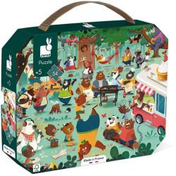 Puzzle pro děti Rodina medvědů Janod v kufříku 54 ks