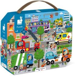 Puzzle pro děti Město Janod v kufříku 36 ks