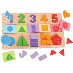 Bigjigs Toys Didaktická deska Čísla, barvy, tvary